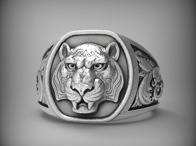 Tiger Ring  Size 9 in Natural Silver
