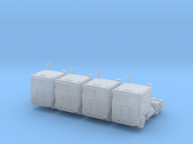 Kenworth Cabover - Set of 4 - 1:500scale in Smooth Fine Detail Plastic