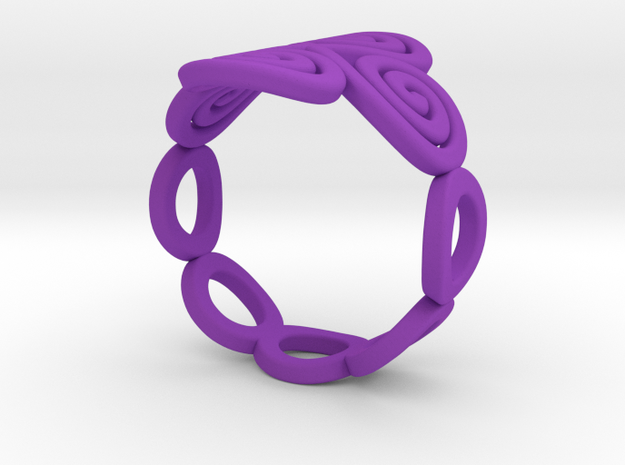 4 Spirals & Ovals Ring (Closed version ) - Size 17 3d printed