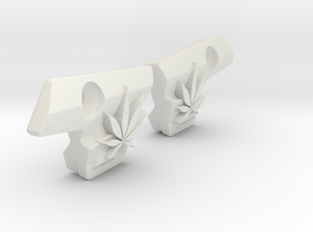 Weed Leaf Covers for Emek and Etha2 in White Natural Versatile Plastic