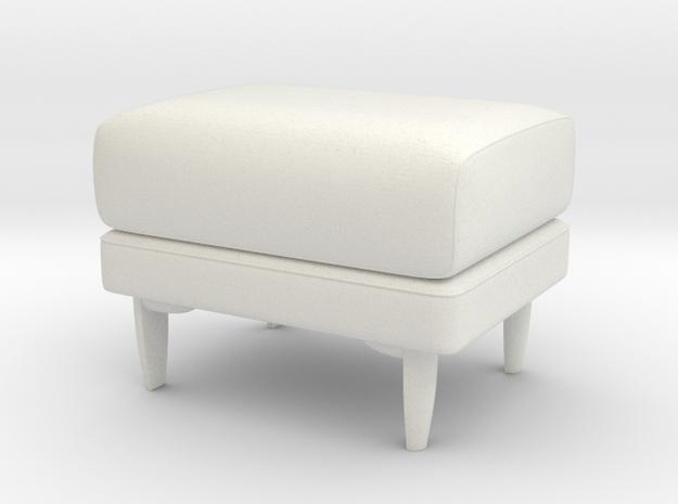 Modern Miniature 1:24 Pouf in White Natural Versatile Plastic: 1:24