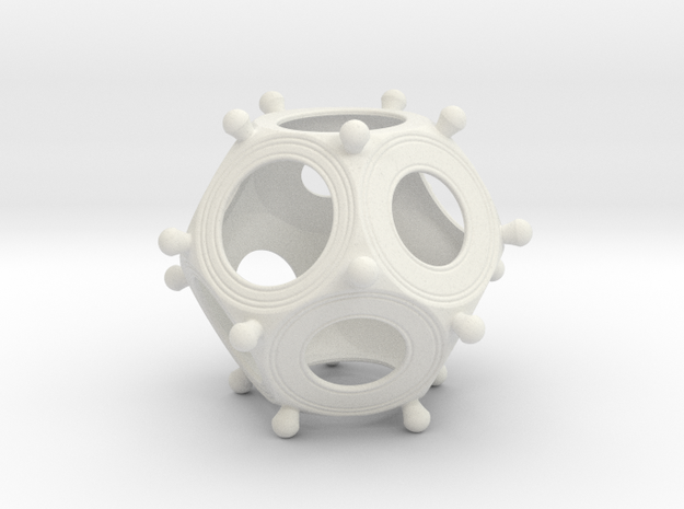 Roman Dodecahedron Small in White Natural Versatile Plastic