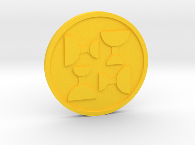 Four of Cups Coin in Yellow Processed Versatile Plastic