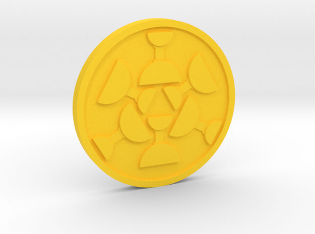 Six of Cups Coin in Yellow Processed Versatile Plastic