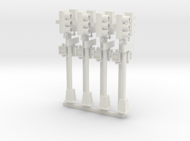 Traffic Light - NYC - HO 2 head pole x4 in White Natural Versatile Plastic: 1:87 - HO