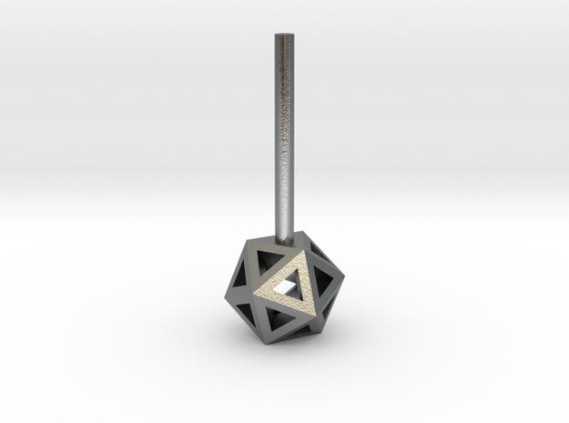 Lawal 54mm v1 skeletal icosahedron stud earring in Natural Silver