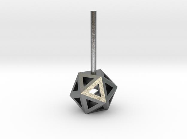 Lawal 7mm v1 skeletal icosahedron stud earring in Natural Silver