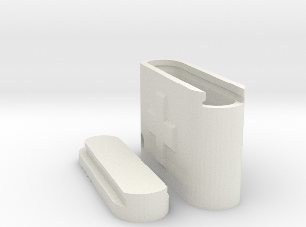 Square Keychain Pill Box in White Strong & Flexible
