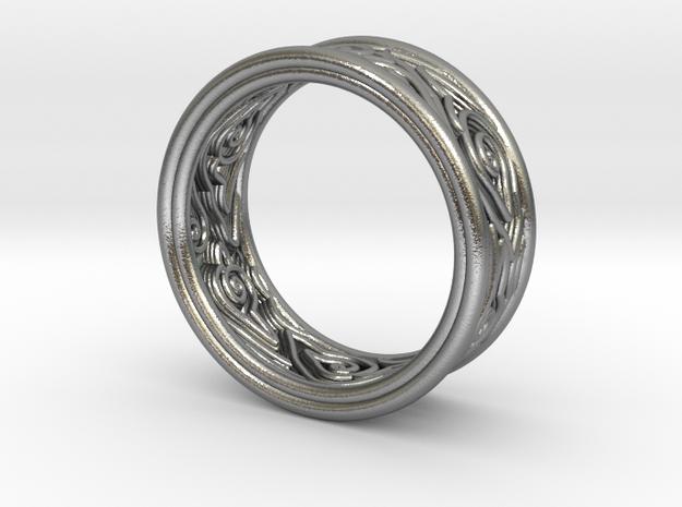 Mega Mendiung_TUBE ring-v1 - 8 mm in Natural Silver: 5.5 / 50.25