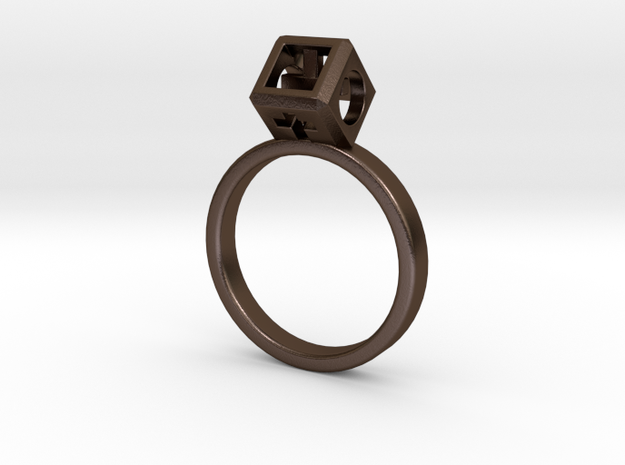 "JEWELRY Ring size 9 (19 mm) with HyperCube ""stone"" in Polished Bronze Steel"
