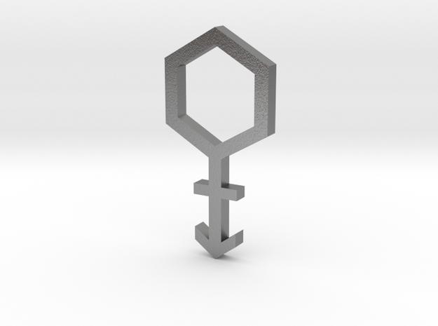 gmtrx 28mm lawal hexagon cross symbol 1 in Natural Silver