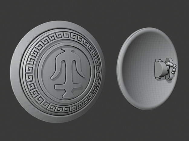Seleucid Anchor - Round Power Shields (L&R) in Smooth Fine Detail Plastic: Small