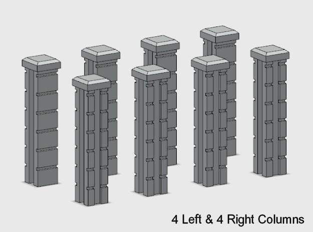 Rod Iron Fence - 90 deg Corner Columns. in Smooth Fine Detail Plastic: 1:87 - HO