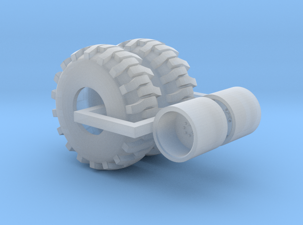 1/64 backhoe tire and wheel pair in Smooth Fine Detail Plastic