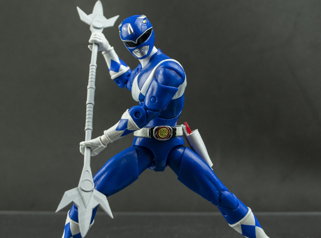 MMPR Heroes Blue Accessory - Power Lance in White Natural Versatile Plastic