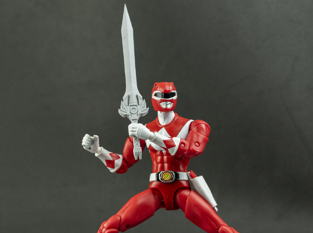 MMPR Heroes Red Accessory - Power Sword in White Natural Versatile Plastic
