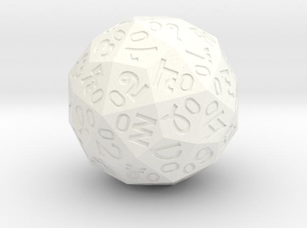 """""""Shockader"""" Argam d60 Dice (d% in Sexagesimal) in White Processed Versatile Plastic"""