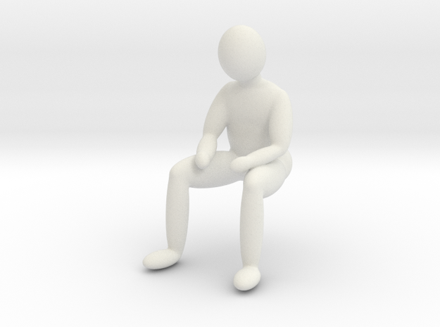 little man sitting sad various scales in White Natural Versatile Plastic: 1:24