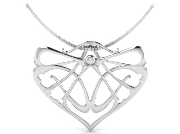 Art Nouveau Inspired Pendant  in Fine Detail Polished Silver