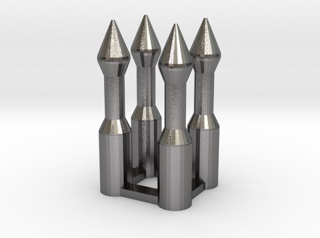 Mandalorian DeathWatchDart_4x in Polished Nickel Steel