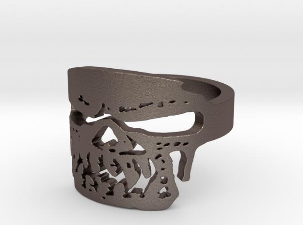 Fallen Angel Biker Skull v2 Ring Size 11 in Polished Bronzed Silver Steel