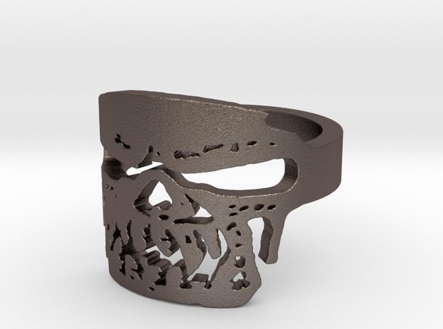 Fallen Angel Biker Skull v2 Ring Size 10 in Polished Bronzed Silver Steel