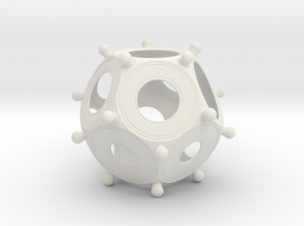 Roman Dodecahedron 100 Large in White Natural Versatile Plastic