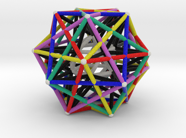 Dodecahedron Starcage with Inner Icosahedron 100mm in Natural Full Color Sandstone