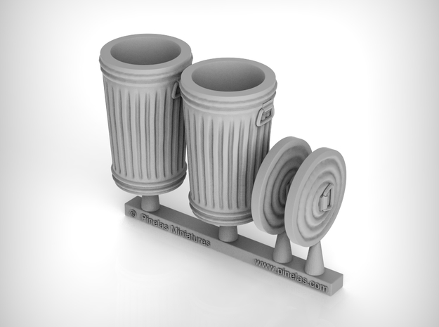 Trash cans 01.  1:43 scale  in White Natural Versatile Plastic