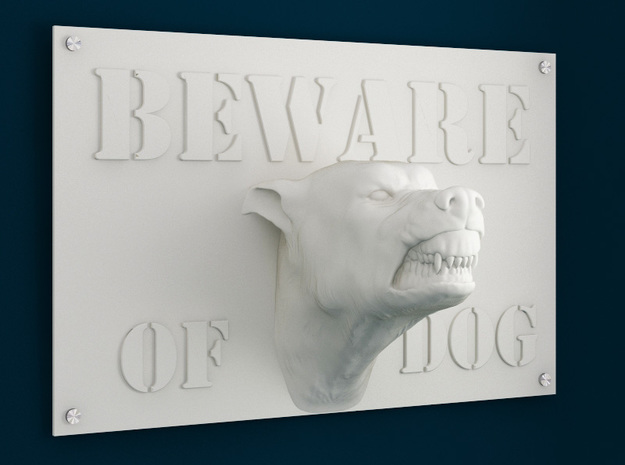 Beware of Dog Sign - 6inches in White Strong & Flexible
