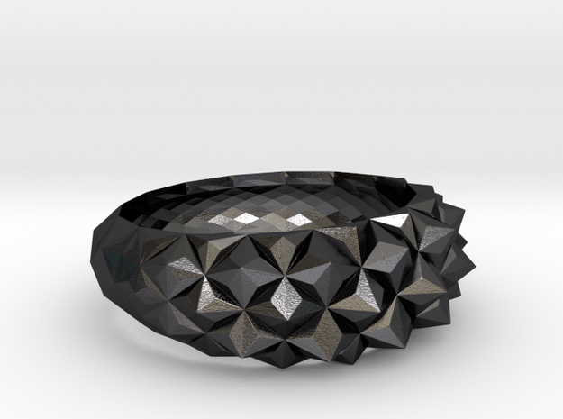 Geometric Cristal Ring 1 US9 in Polished and Bronzed Black Steel