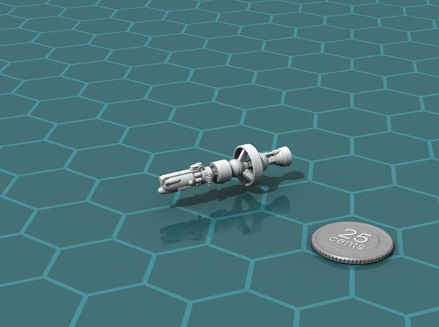 Federal Light Cruiser 3d printed Render of the ship, with a virtual quarter for scale.