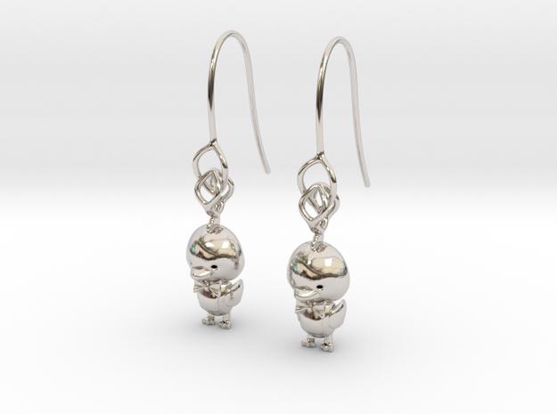 Ducky earring in Rhodium Plated Brass