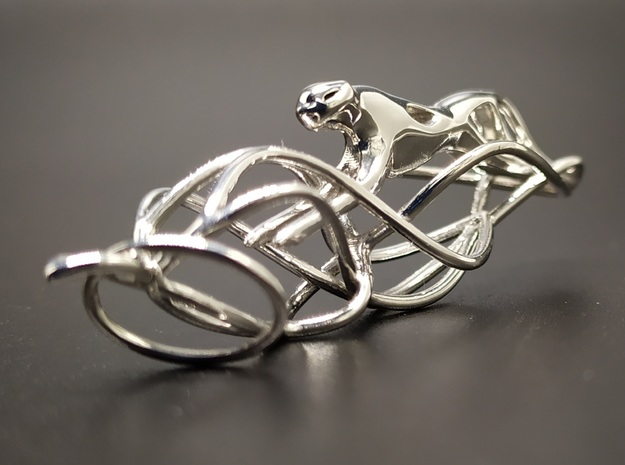 Snow leopard pendant in Rhodium Plated Brass