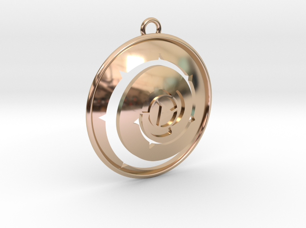 Rosy Shield Pendant in 14k Rose Gold Plated Brass