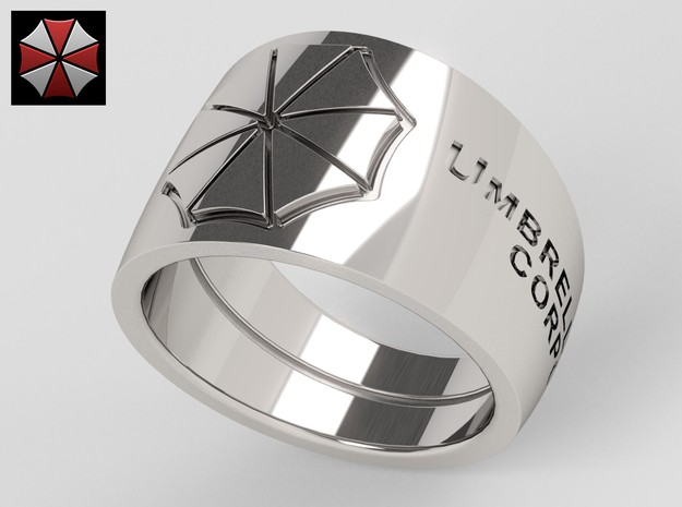 Umbrella Corporation Ring in Polished Silver: 10 / 61.5