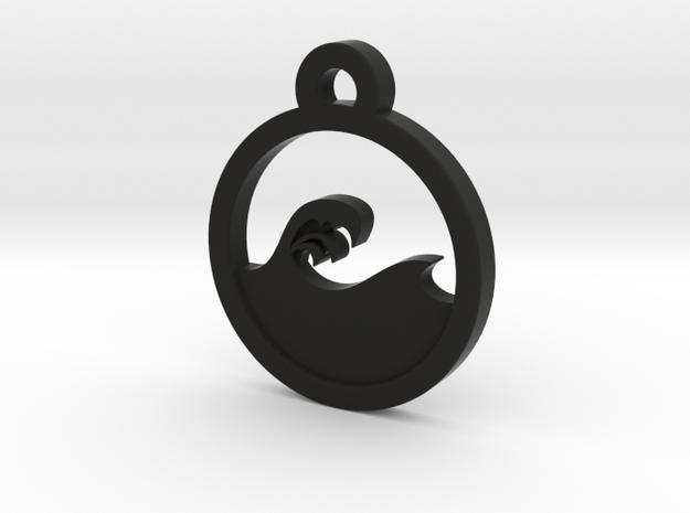 Wave Charm Necklace n69 in Black Natural Versatile Plastic