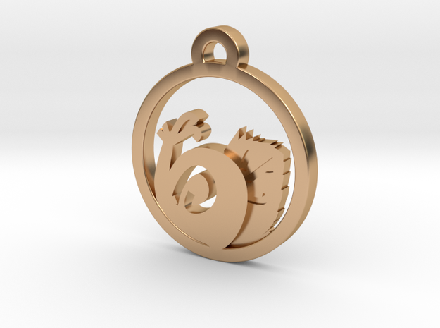 Snail Charm Necklace n71 in Polished Bronze