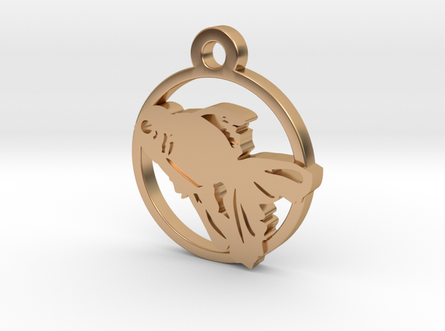 Gold Fish Charm Necklace n27 in Polished Bronze