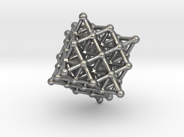 Tetrahedron Atom Array(Brass, Bronze or Silver) in Natural Silver