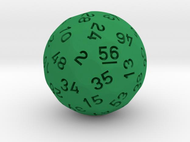 d56 Sphere Dice in Green Processed Versatile Plastic