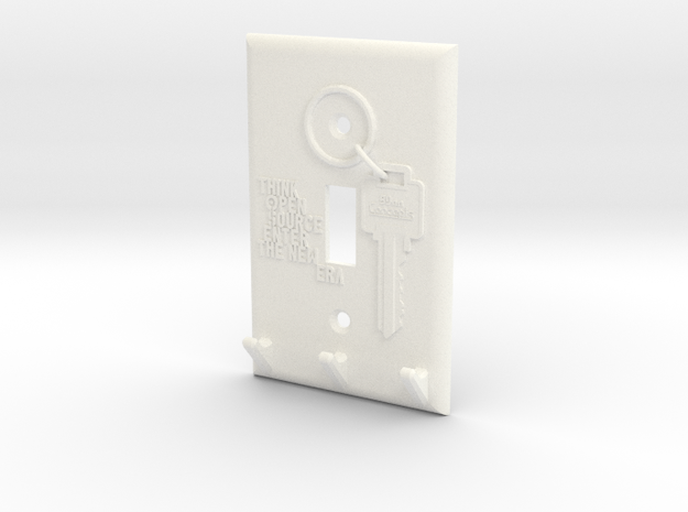 Light Switch Key Hanger in White Processed Versatile Plastic