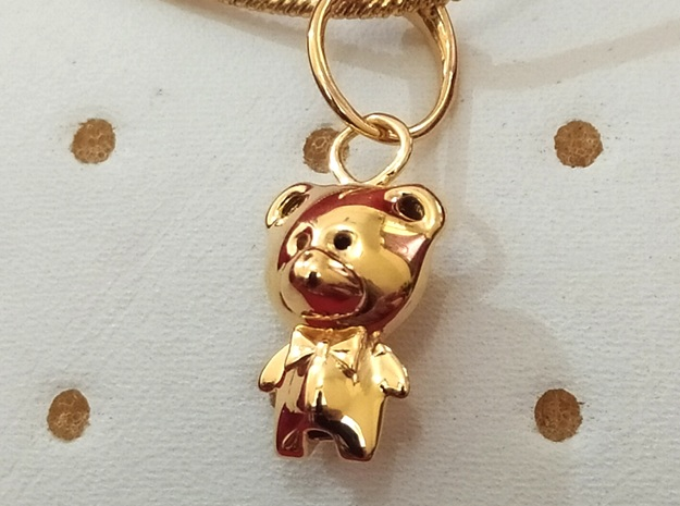 Teddy Pendant in 14k Gold Plated Brass