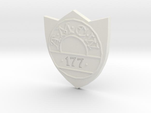 Discworld Badge in White Natural Versatile Plastic