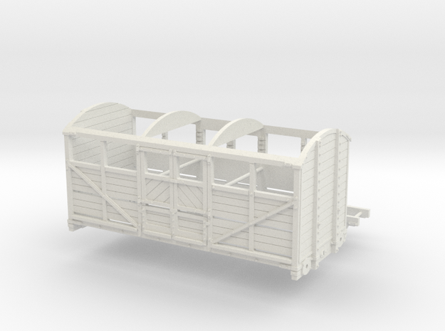 HO LBSCR 6 Ton Cattle Wagon in White Natural Versatile Plastic
