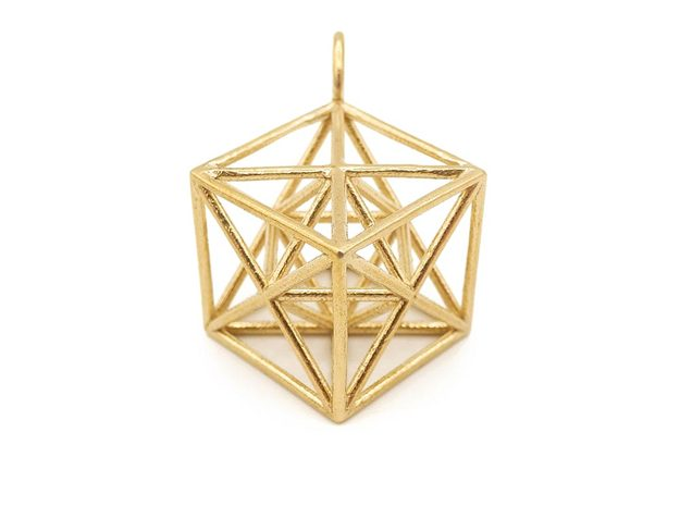 Metatron's Cube Pendant in Natural Brass: Small