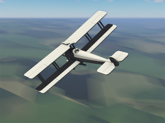 Avro 504K (2 seater, various scales) in Gray PA12: 1:144