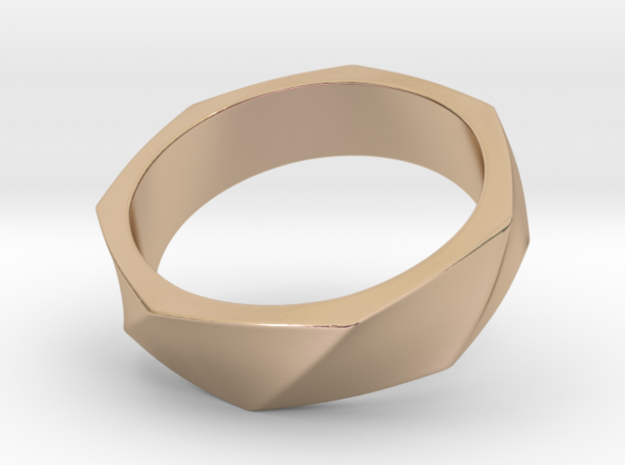 Heptagon Twist Ring in 14k Rose Gold Plated Brass: 8 / 56.75
