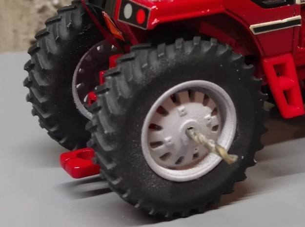 "1/64 Scale 38"" 1586 88 Series Red Wheels and Tires in Smooth Fine Detail Plastic"