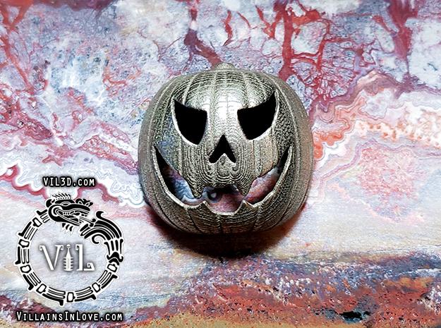 Halloween RZ PUMPKIN Pendant ⛧VIL⛧ in Polished Bronzed-Silver Steel